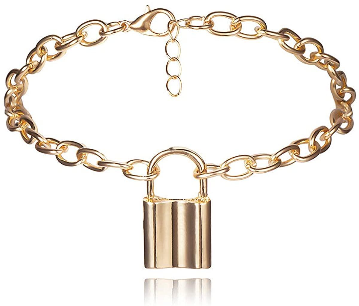 A Lock Anklet Bracelet for Women - Padlock Charm Foot Bracelet Anklet Adjustable - Foot Chain Jewelry for Women Girls