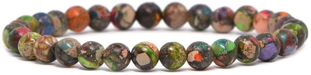 Justinstones Gem Semi Precious Gemstone 6mm Round Beads Stretch Bracelet 6.5 Inch Unisex