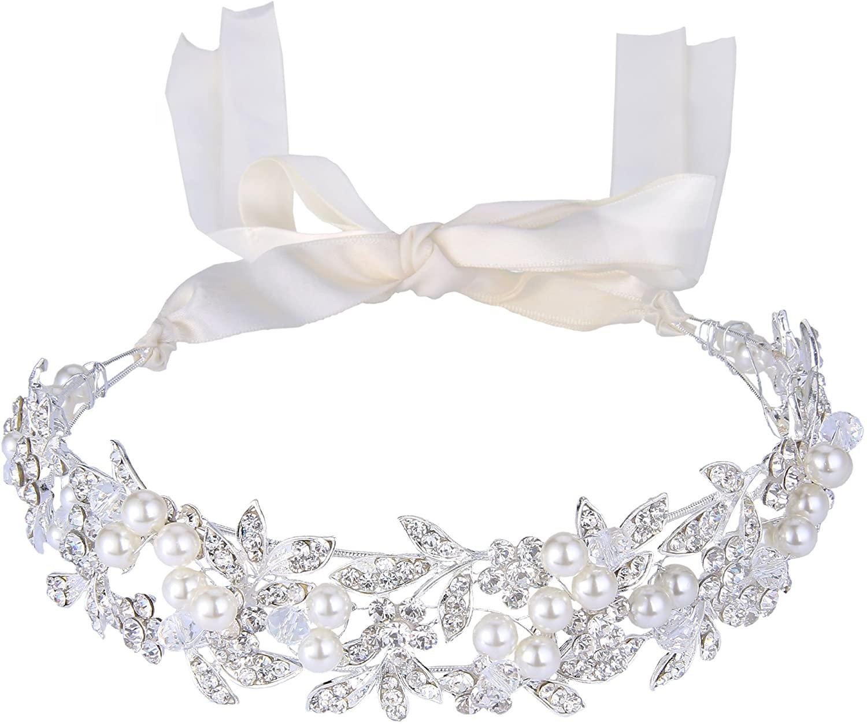 BriLove Women's Bohemian Bridal Crystal Ivory Color Simulated Pearl Bib Ribbon Tie Bendable Hair Band