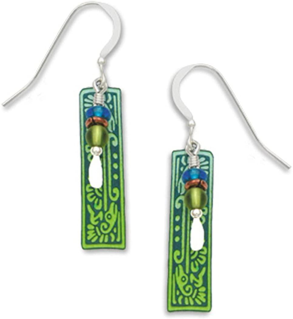 Adajio By Sienna Sky Long Blue green Column with Ancient Bird Motif Drop Dangle Earrings 7099