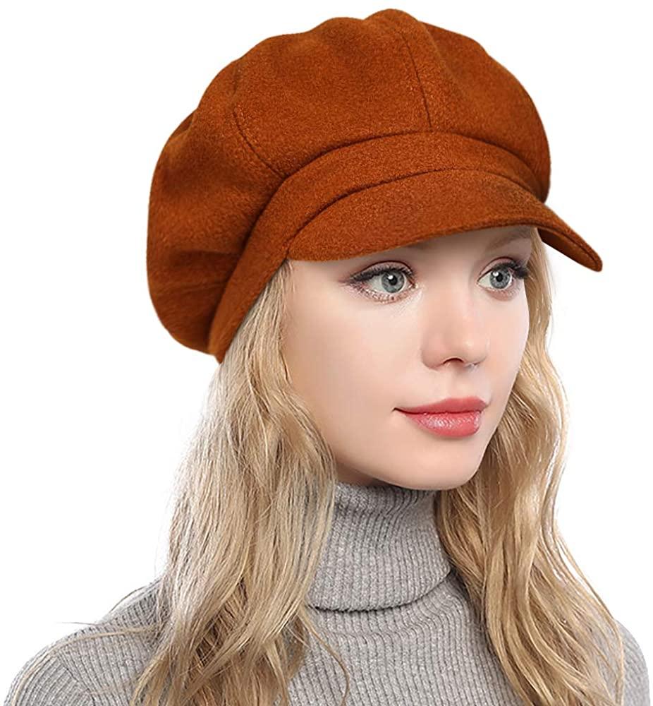 PanPacSight Womens Newsboy Hats Fall Wool Cabbie Beret Tweed Girls Paperboy Cap