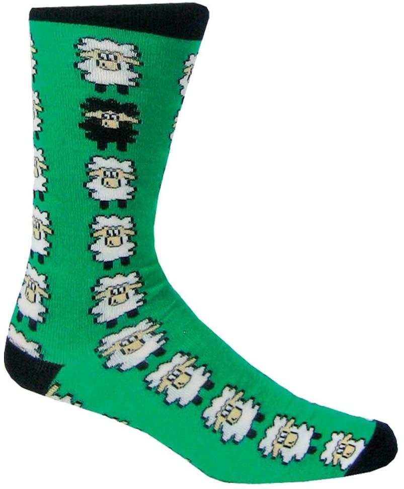 Dublin Gift Sheep Adult Socks, Emerald and Black/Multi