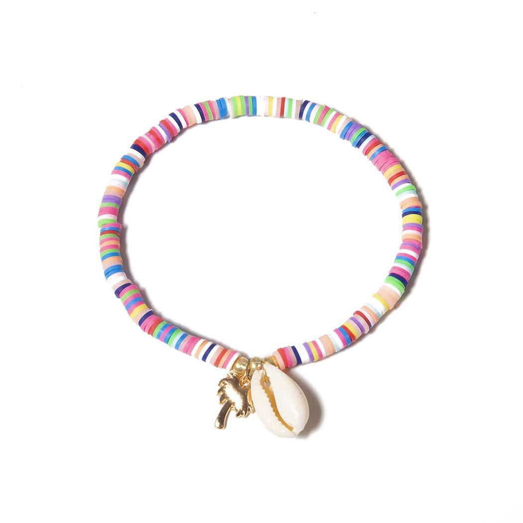 Bmadge Beach Beaded Bracelet Chain Shell Rainbow Seed Bead Hand Chain Jewelry for Women and Girls