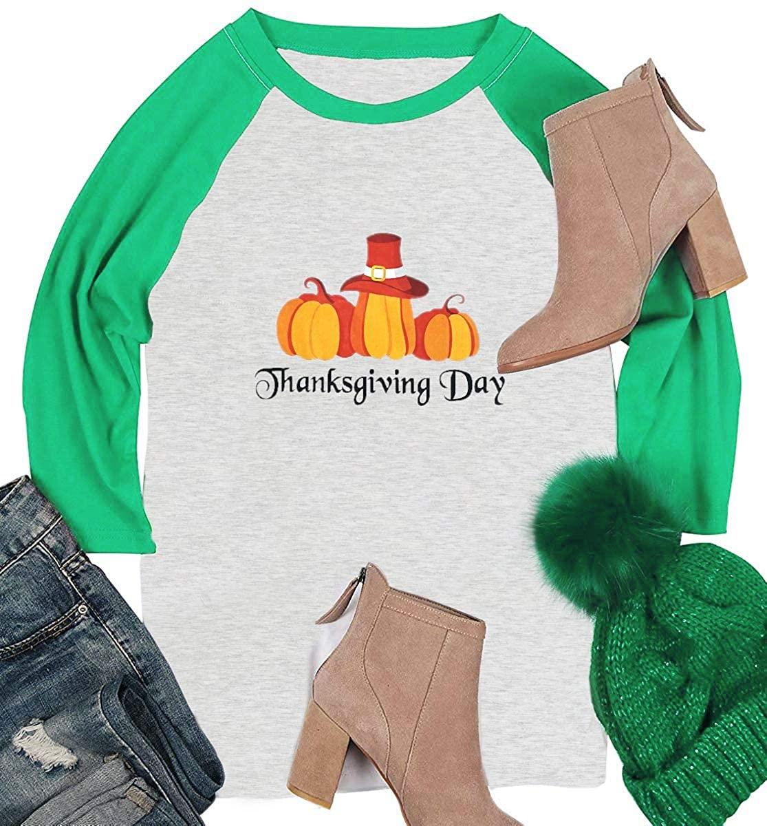 Women's Thanksgiving Day T-Shirt Letter Print Pumpkin Graphic Tee Shirt Casual Fall Winter Tee Top