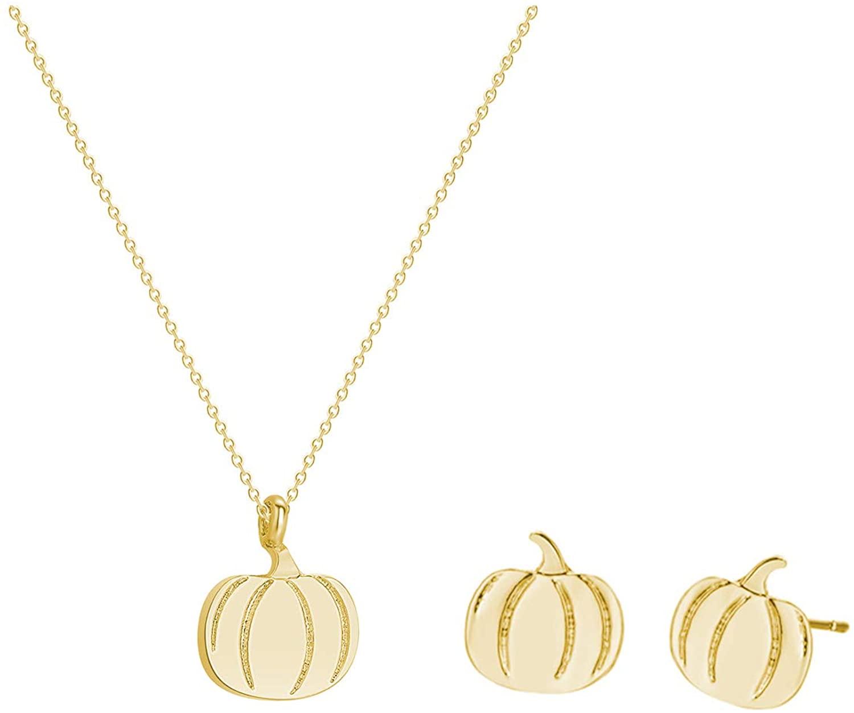 2Pcs Pumpkin Pendant Necklace Earring Set For Women Thanksgiving Halloween Jewelry