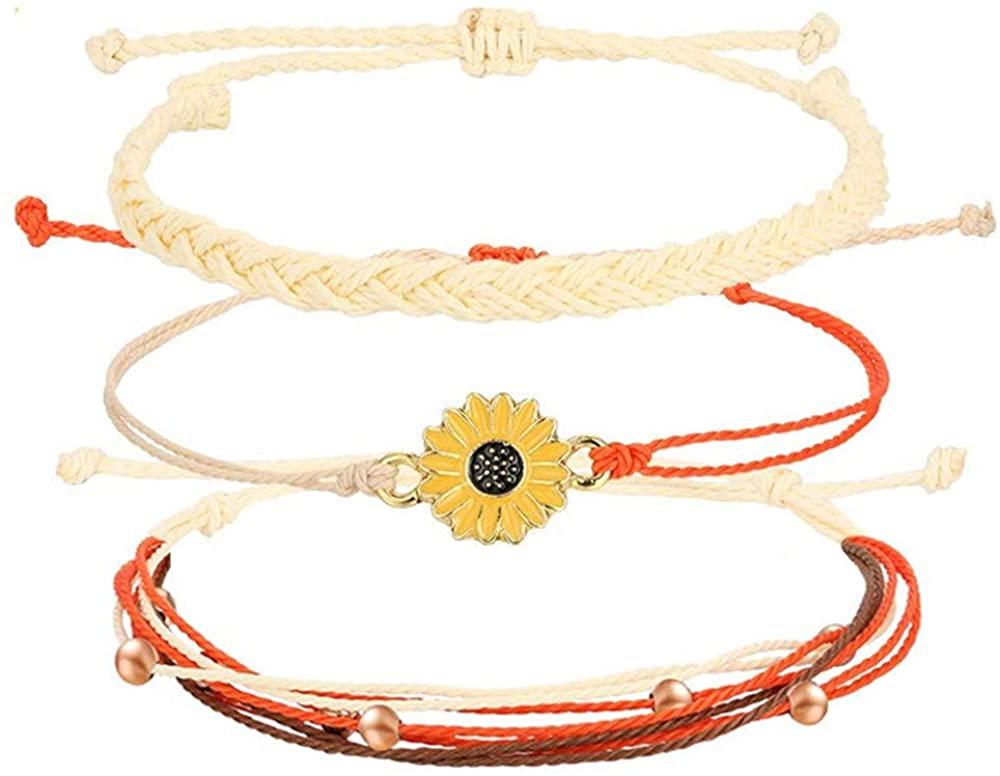 YJT Handmade Sunflower Boho Bracelet Anklet Set for Women Teen Girls, Wax String Waterproof, Adjustable String 10.5