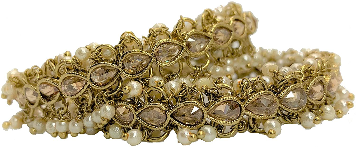 Envy Designs Polki Bangles with White Pearls, Size 2.6 (2)