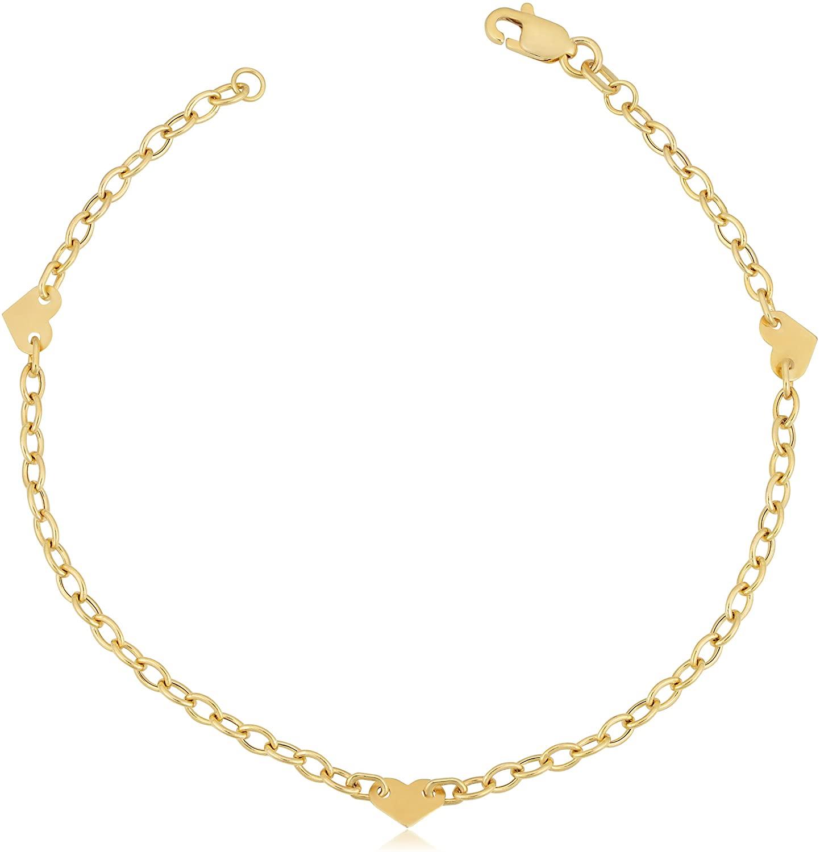 Kooljewelry 14k Yellow Gold Heart Station Bracelet (7 inch)