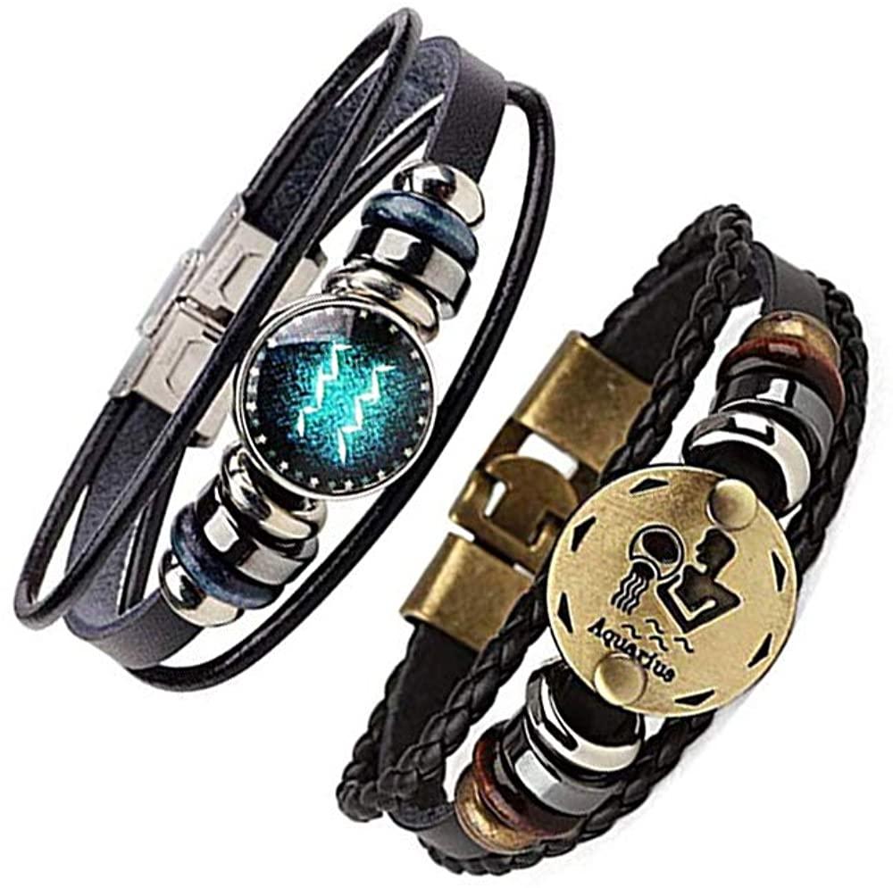 WLLAY 2pcs Retro 12 Zodiac Constellation Beaded Hand Woven Leather Bracelet PUNK Chain Cuff