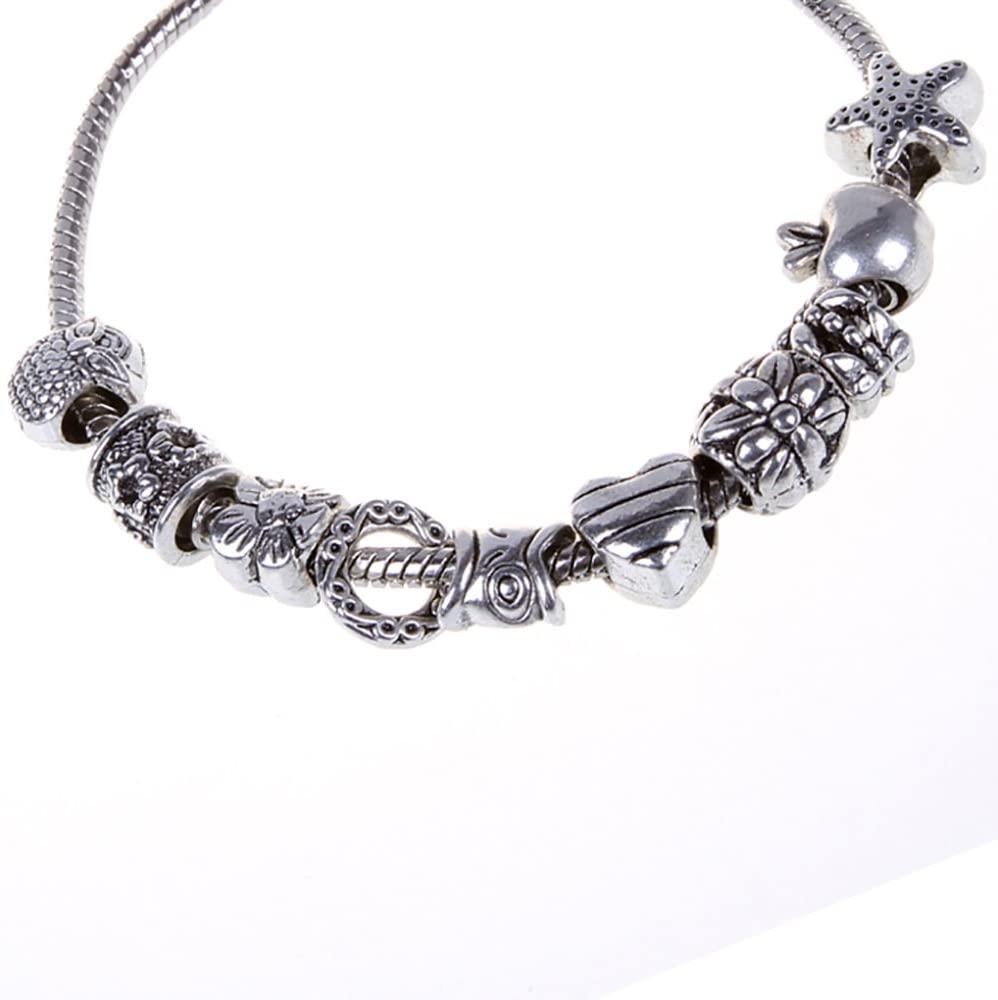 RUBYCA Tibetan Silver Tone Color Spacer Loose Beads and 1pcs European Charm Bracelet Mix 100pcs DIY
