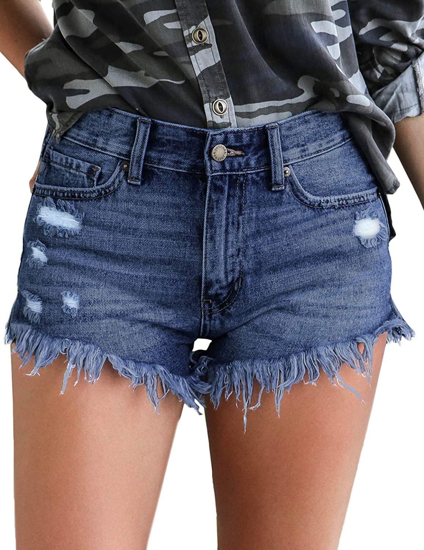 Bbonlinedress Women's Casual Denim Shorts Mid Waist Frayed Raw Hem Ripped Jeans