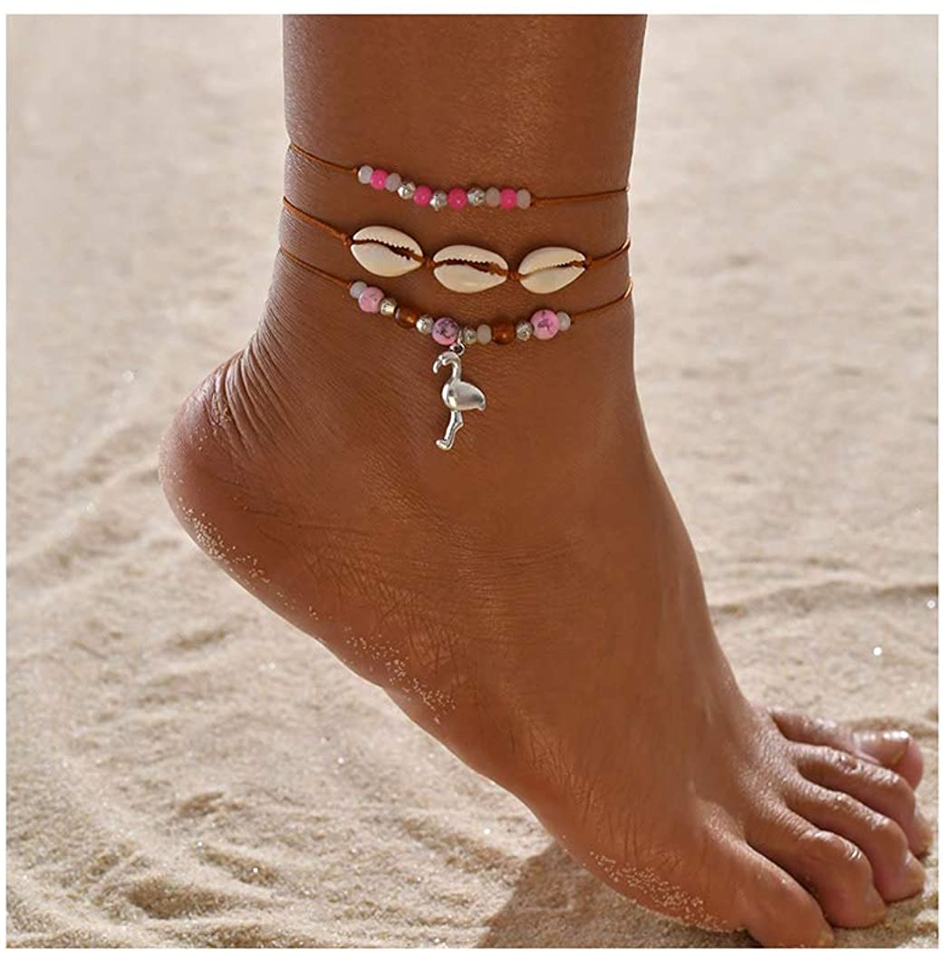 Campsis Boho Shell Anklets Set Multi Layered Ankle Bracelet Braid Rope Ankle Charms Foot Jewelry for Women and Girls (Pack of 3)
