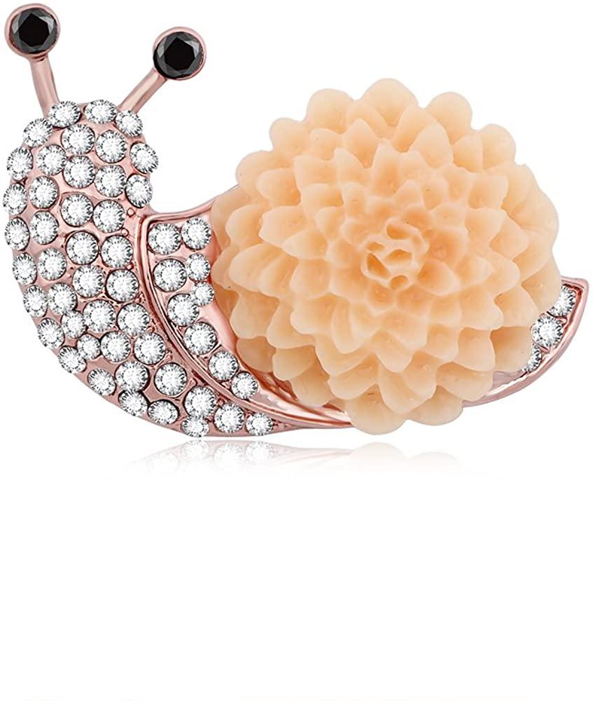 SenFai Cute Crystal Snail Love Dahlia Flower Brooch Pin 3 Tone(Rose Gold)