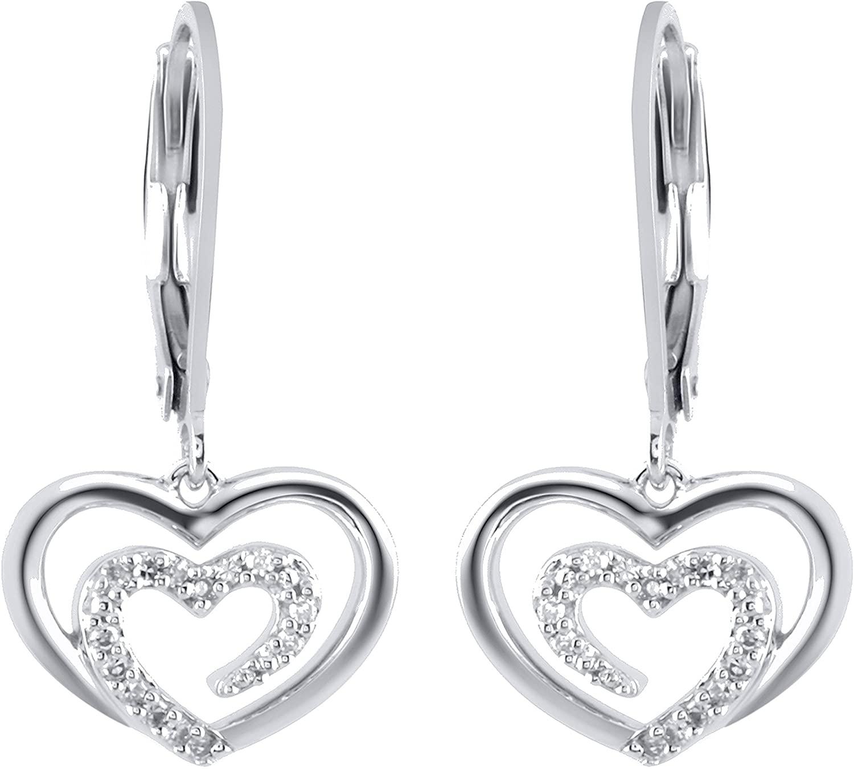 Sterling Silver 1/10cttw Diamond Heart Earring