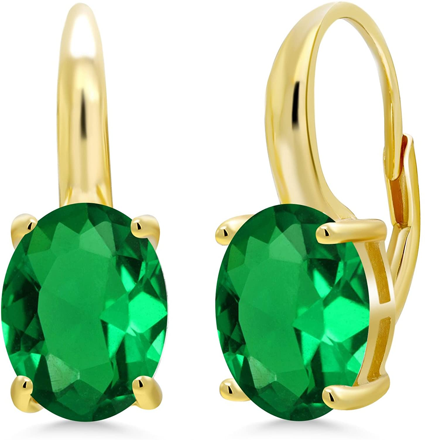Gem Stone King 4.40 Ct Oval Green Simulated Emerald 18K Yellow Gold Plated Silver Earrings