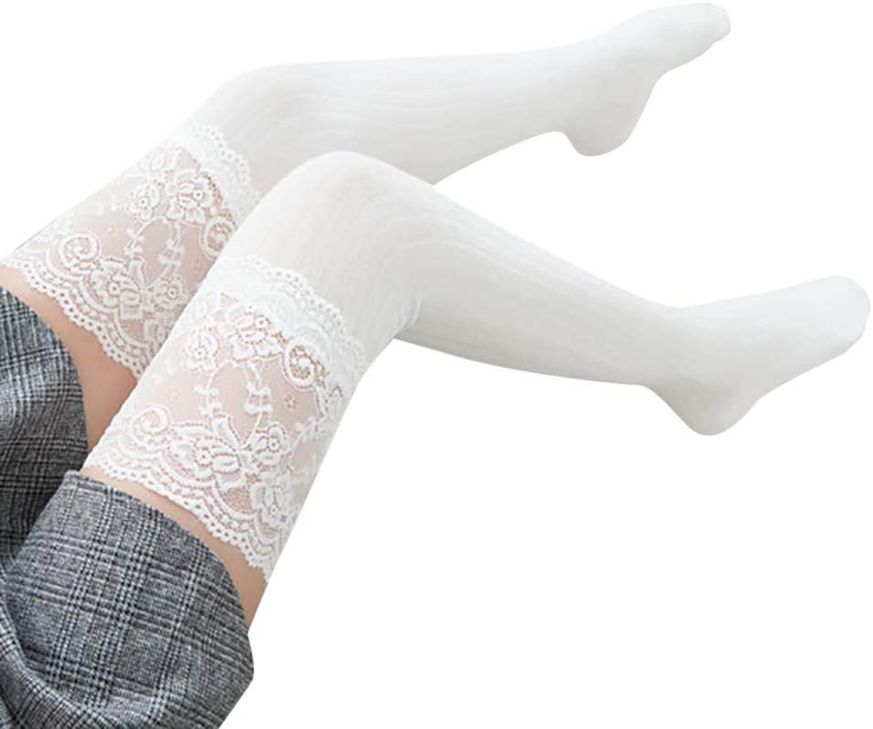Fineday Women Lace Trim Thigh High Over The Knee Socks Long Cotton Warm Stockings, Socks, Clothing Shoes & Accessories (White)