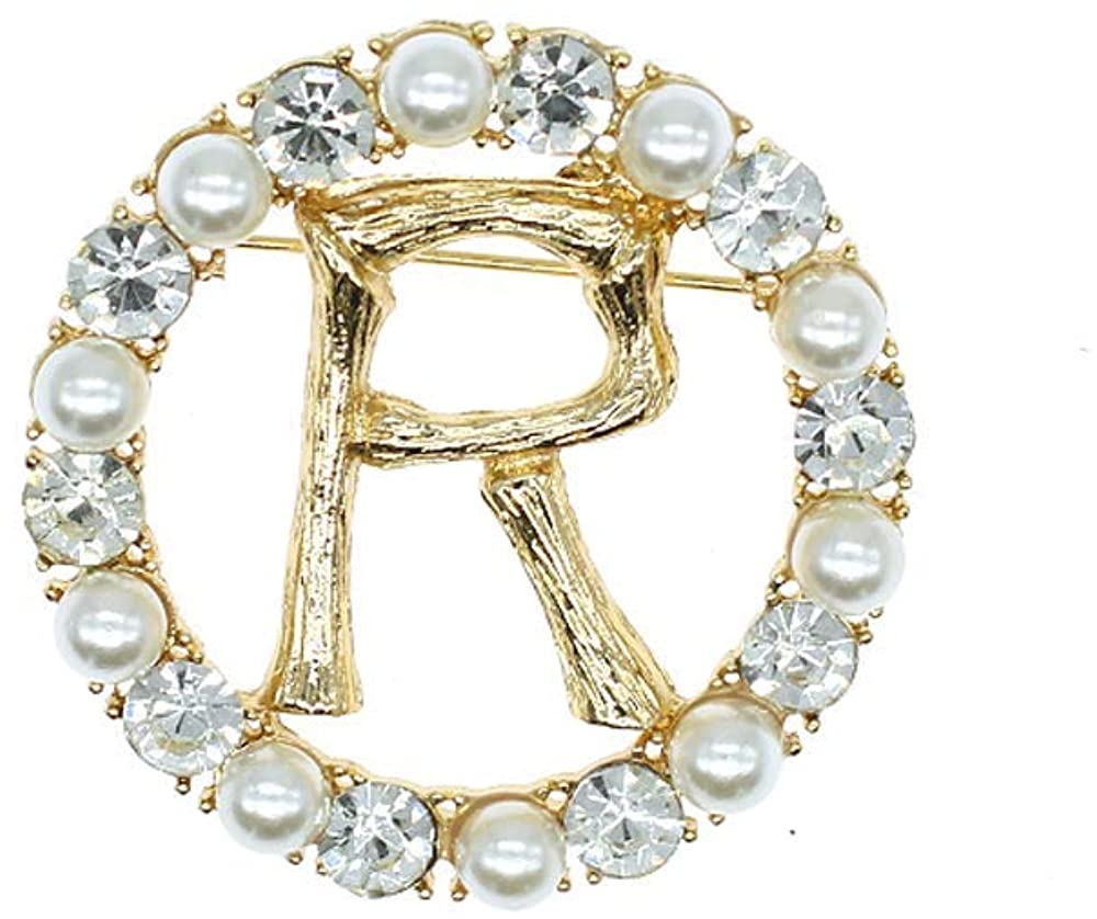 Qiaoqiao English Letters R Pin Brooches Hollow-Out Crystal Pearl Bamboo Alphabet Brooch Fashion Rhinestones Pins for Banquet Bouquet Women Girls Men Jewelry