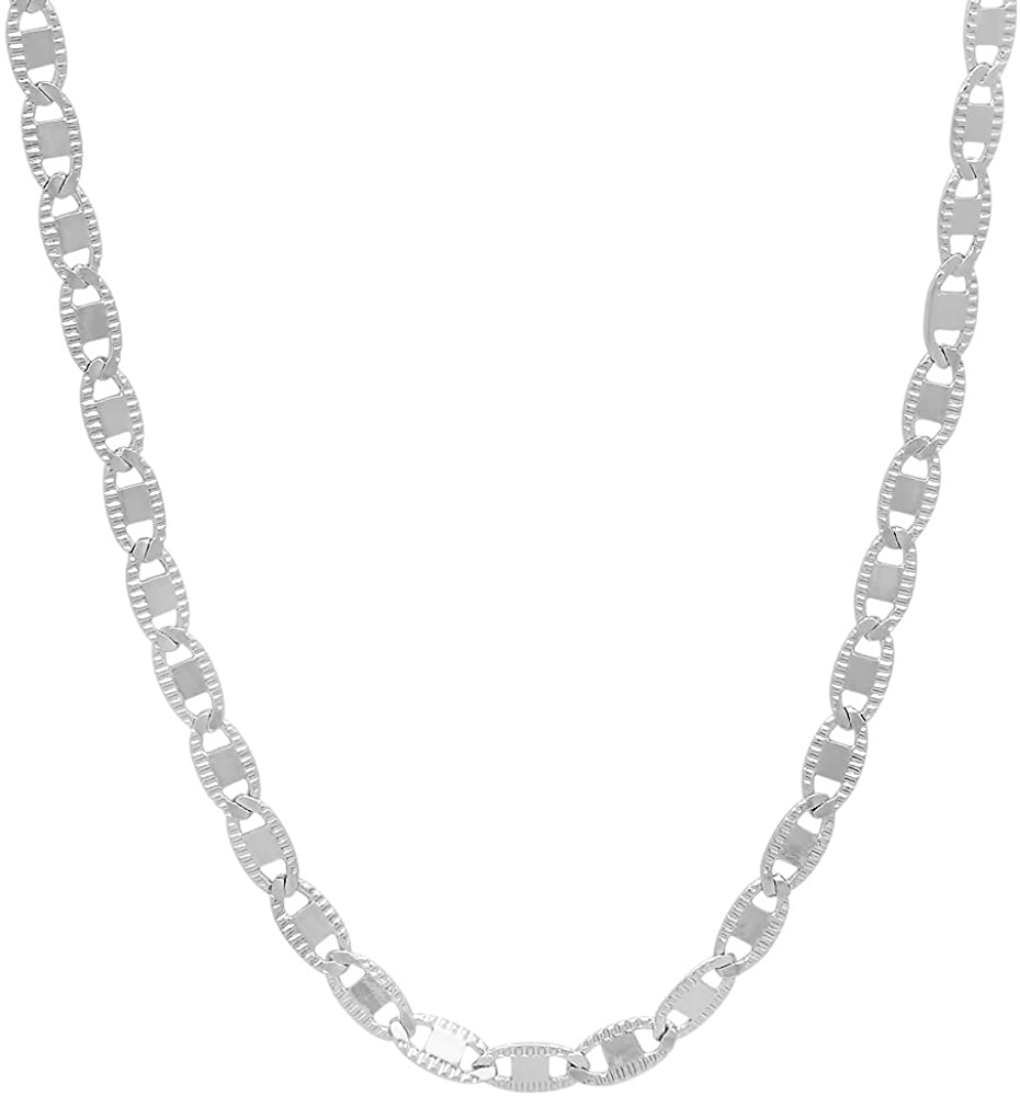 The Bling Factory 2.6mm High-Polished 0.25 mils (6 microns) Rhodium Plated Flat Mariner Chain Necklace, 7'-30