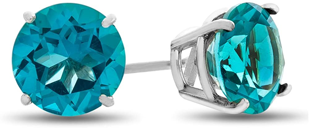 Finejewelers 6x6mm Round Coated Paraiba Topaz Post-With-Friction-Back Stud Earrings 14 kt White Gold