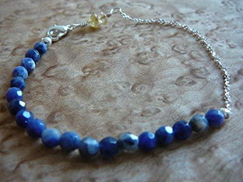 AAA++ Rare Quality Sodalite & Citrine Gemstone Bracelet Minimal Healing Jewelry, 6mm Yellow 4mm Blue Semi Precious Stone Crystal Beads Code- WAR10074
