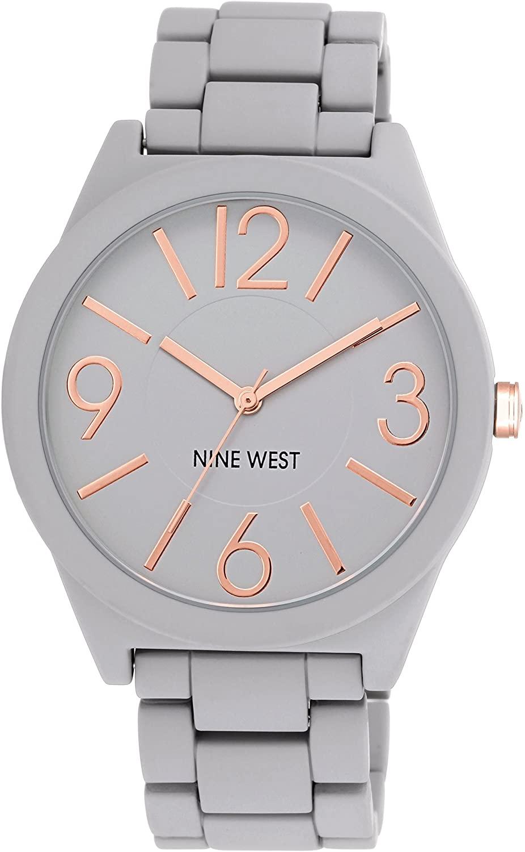 Nine West Women's NW/1678GYRG Watchme Analog Display Japanese Quartz Grey Bracelet Watch