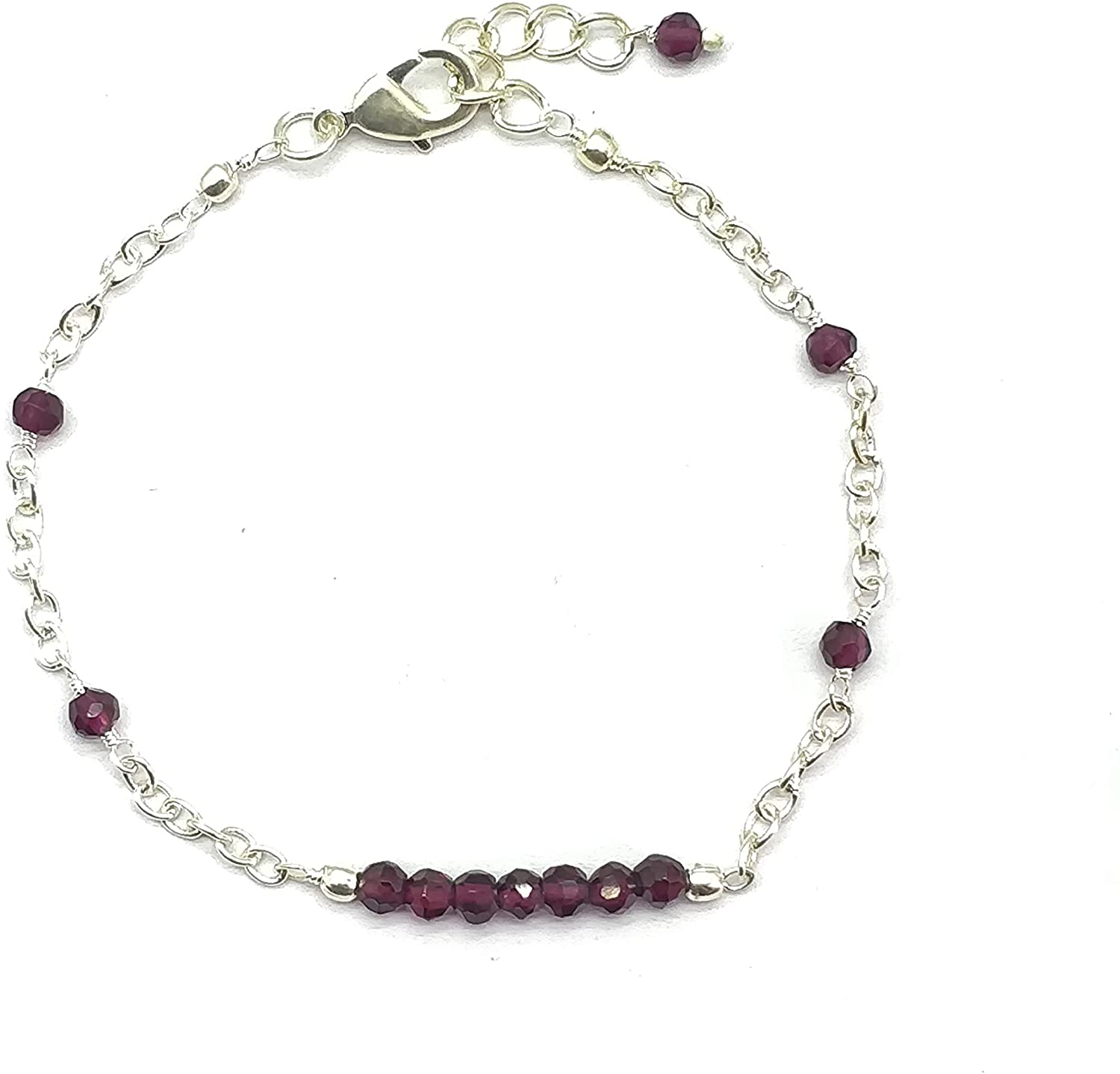 Natural Pink Garnet Silver plated, 4mm Rondelle Faceted 7 inch Adjustable bracelet beaded bar bracelet jewelry for GF & Wife, Mother gift