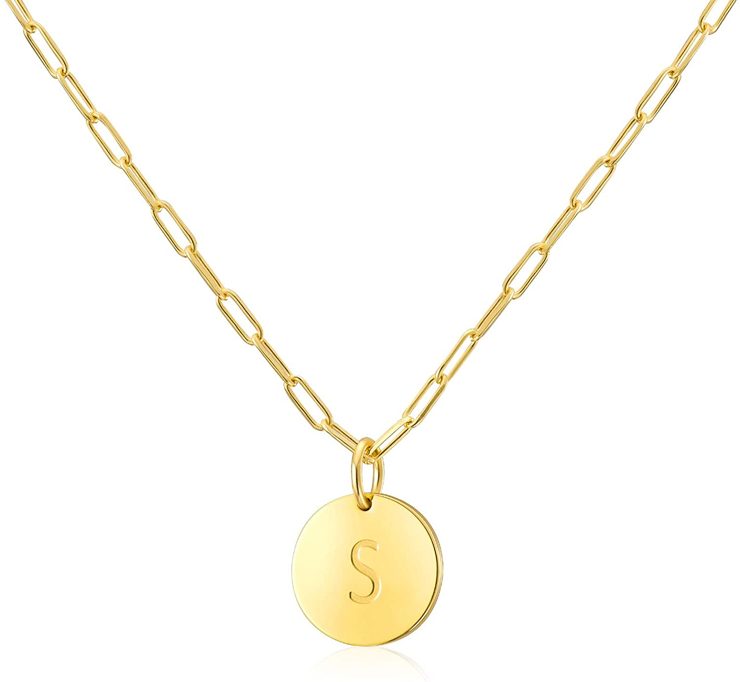 Initial Necklaces Gifts for Women Girls : 14k Gold Plated Round Disc Letter Pendant Paperclip Chain Personalized Name Teens Kids Birthday Jewelry