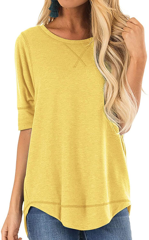 CUTEKOLVE Women's Loose Fit T Shirts Cotton Casual Side Split Long Sleeve T-Shirt Crew Neck Short Sleeve Tunic Tops