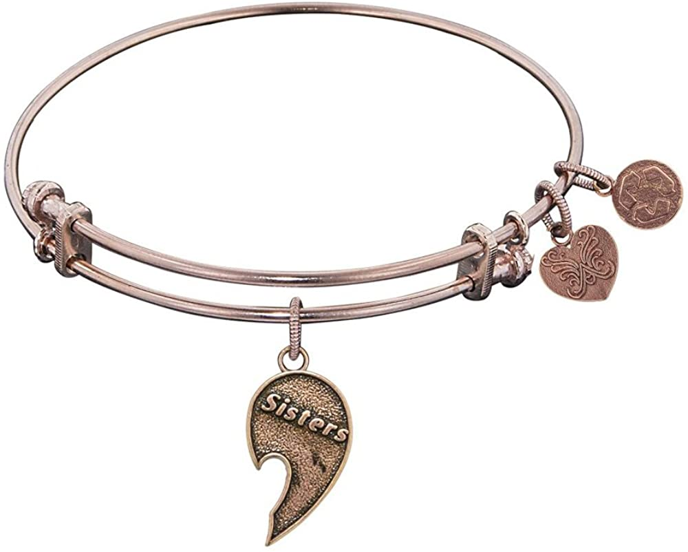 Angelica Collection Antique Stipple Finish Brass Right-Half Heart Sisters Expandable Bangle