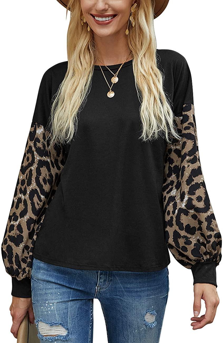 Women Leopard Print T-Shirt Casual Lantern Long Sleeve Patchwork Pullover Tops
