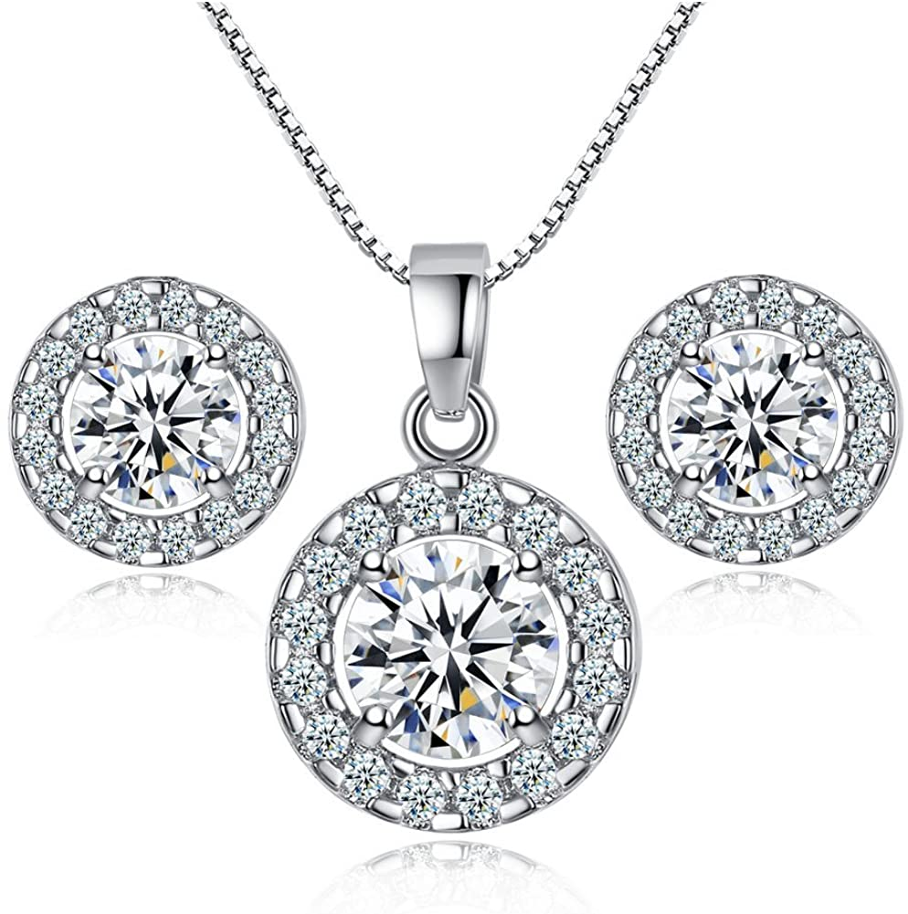 Zhang Trading Co., Ltd. White Gold Halo CZ Box Chain Necklace+Stud Earrings Set