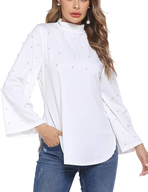 HOTLOOX Women Elegant Pearl Blouse Shirts High Neck Long Bell Sleeve Ruffle Tops S-XXL