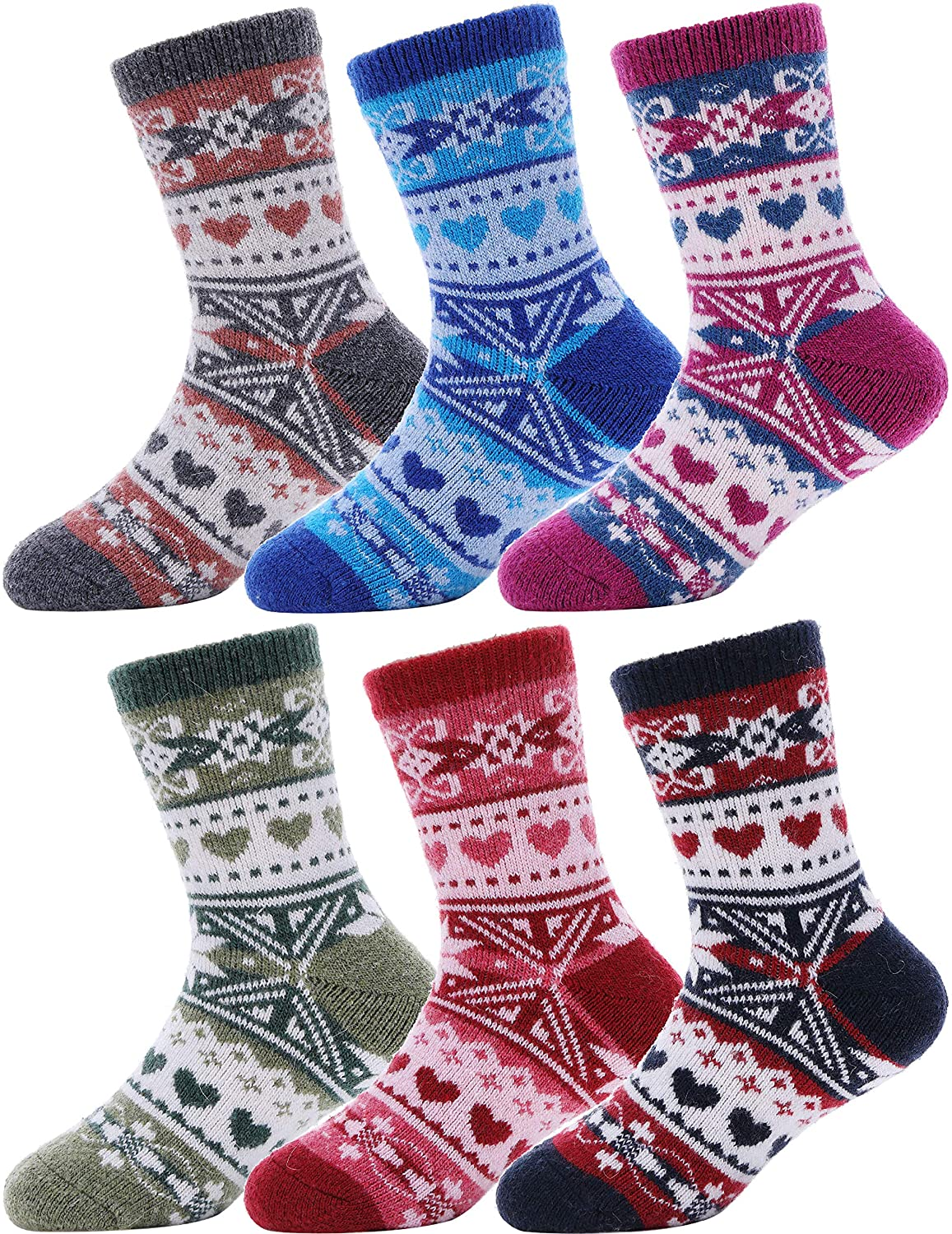 Boys Girls Wool Socks For Child Kid Toddler Thermal Warm Thick Cotton Winter Crew Socks 6 Pairs