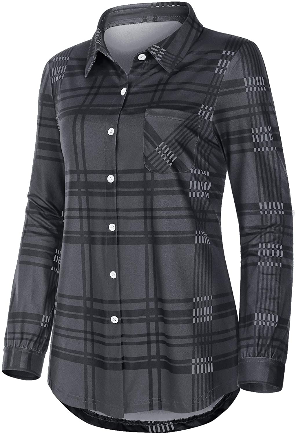 Miusey Women's Roll Up Long Sleeve Collared Button Down Plaid Shirt with Pocket