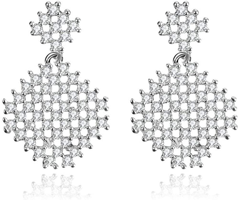 Czjewelry Square Crystal Drop Dangle Earrings Geometric Cz Stone Fully-jewelled Earrings Perfect Jewelry Gift for Women