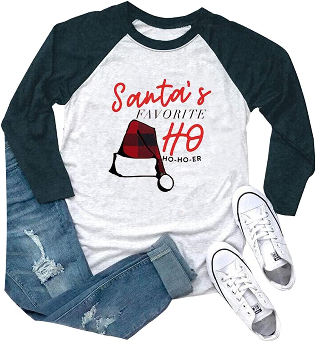 Christmas Cute Santas Hat Shirt Women 3/4 Raglan Sleeve Vacation Holiday Blouse Tops (Green, Small)