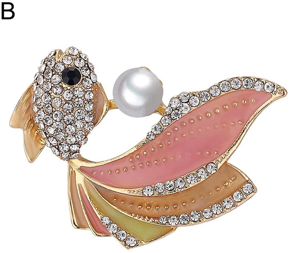 HaHawaii Brooch Pins for Women, Vintage Rhinestone Faux Pearl Goldfish Brooch Pin Cardigan Shawl Badge - A