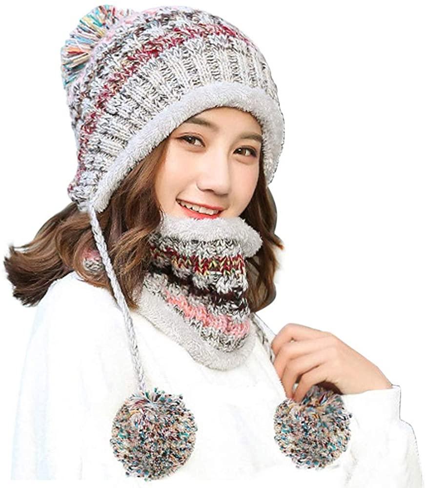 Gosuban Fleece Lined Women Knit Beanie Scarf Set for Girl Winter Ski Hat with Pompom
