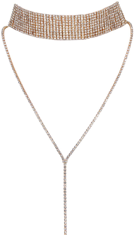 JewelryWe Women's Multi Row Rhinestone Choker Necklace Sweater Long Chain with Pendant Collar 3 Colours Silver Gold Black