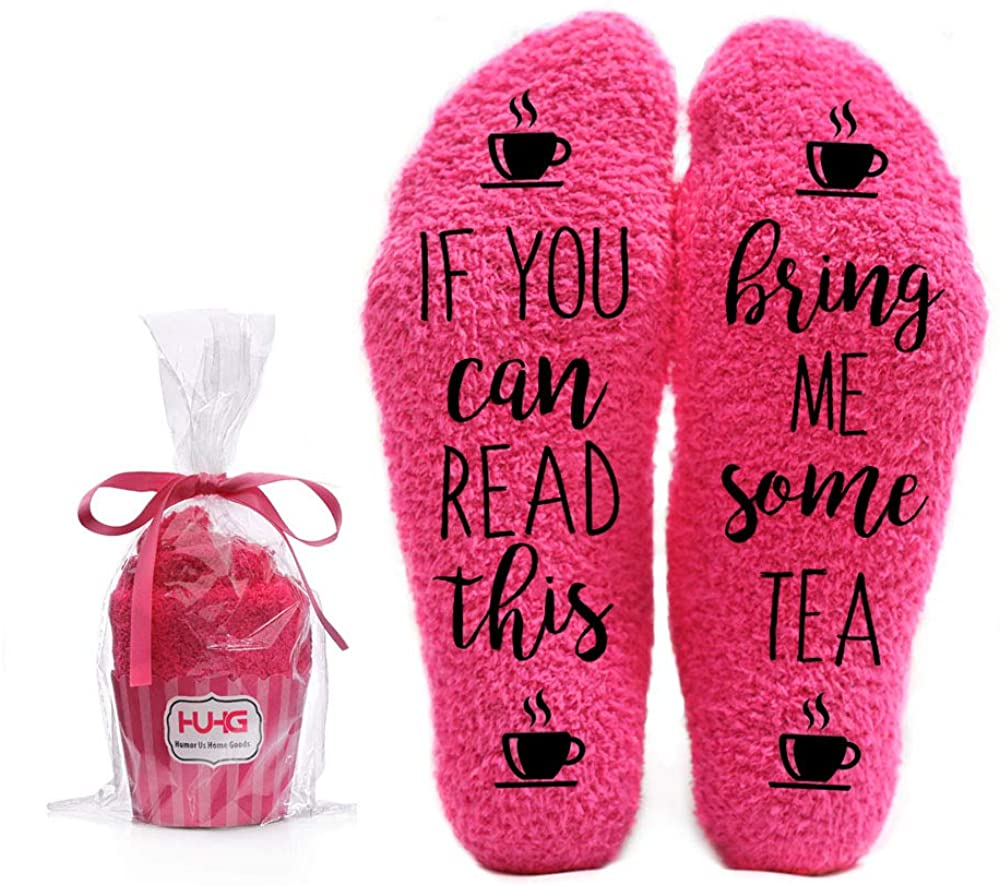 Bring Me Tea Fuzzy Socks for Women - Novelty Fun Cozy Fluffy Cute Pink Socks in Cupcake Packaging - Christmas Stocking Stuffers Birthday Valentines Day Ideas for Mom Wife Sister Girlfriend Grandma