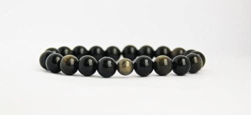 Natural 8-10mm Stretchable Black Obsidian & Pyrite Bracelet Round, Smooth 7