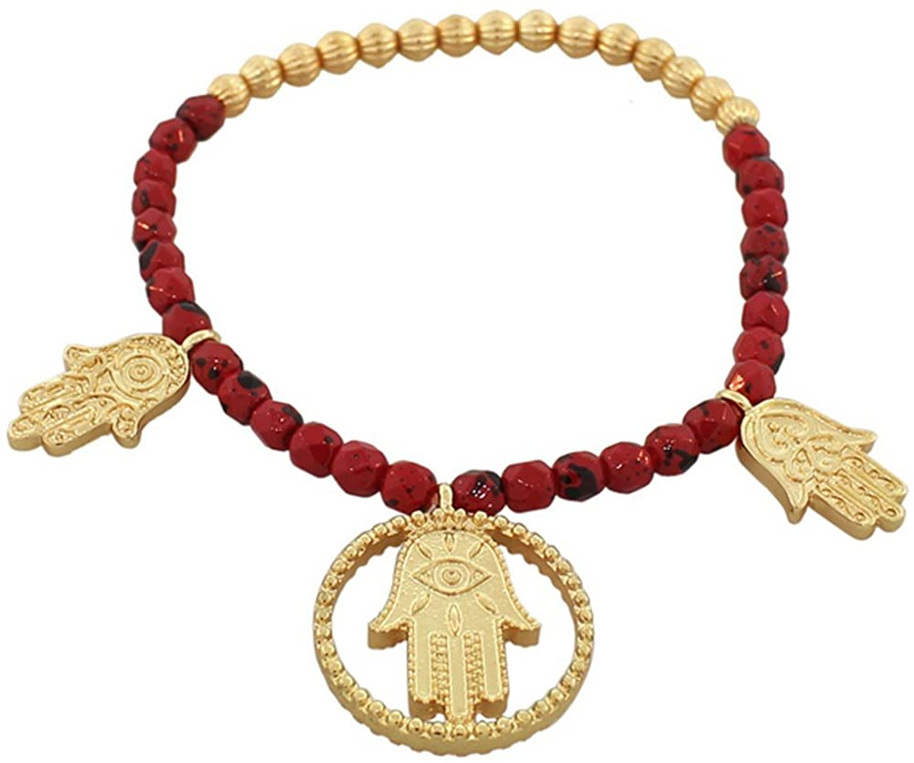 My Daily Styles Fashion Alloy Red Gold-Tone Hamsa Evil Eye Stretch Beaded Bracelet