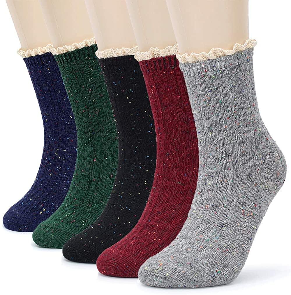 Pareberry Women's Vintage Thick Knit Warm Comfort Cotton Lace Crew Slipper Boot Socks