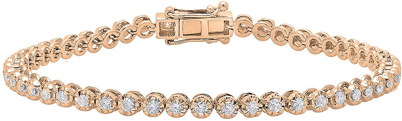 Dazzlingrock Collection 1.55 Carat (ctw) 14K Gold Round White Diamond Ladies Tennis Bracelet 1 1/2 CT