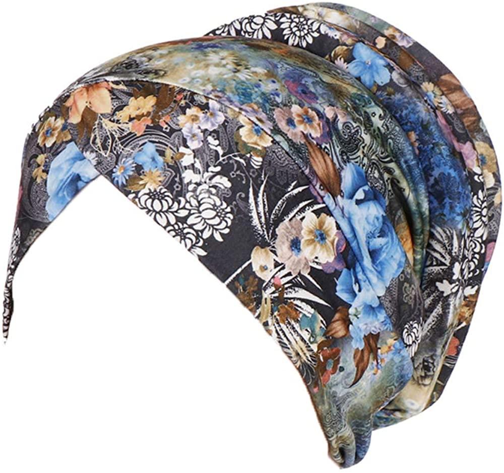 Women Colourful Leopard Floral Print Beanie Cap, Muslim Stretch Chemo Hair Loss Head Scarf Hijab Turban Hat