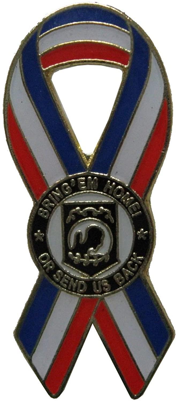 United States POW-MIA Lapel pin red,White Blue Ribbon Center is POW Logo New