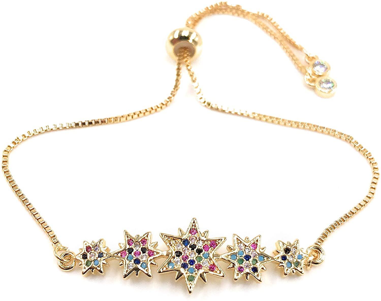 LESLIE BOULES Charm Stars Bracelet for Women 18K Gold Plated Sliding Chain Adjustable