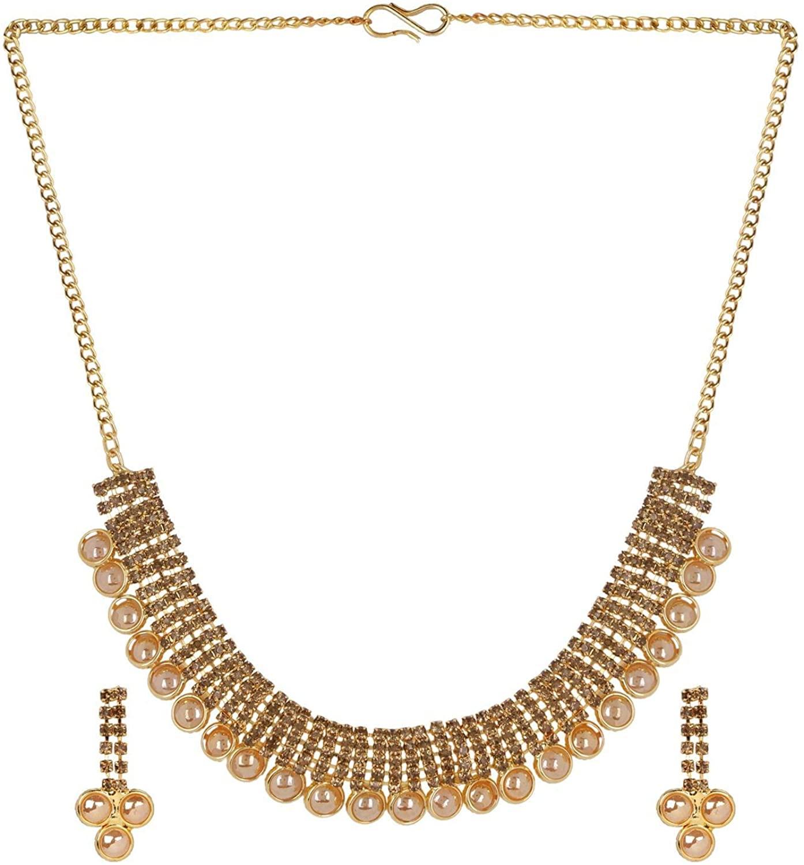 Efulgenz Crystal Rhinestone Indian Gold Plated Bridal Wedding Choker Necklace Earring Jewelry Set for Brides Bridesmaid