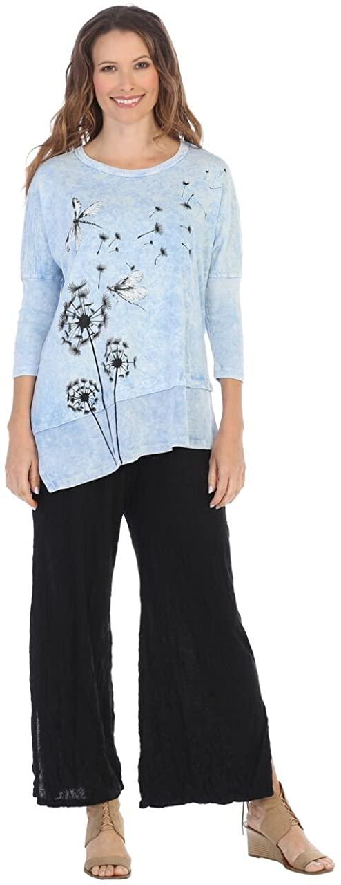 Jess & Jane Women's Mineral Washed Cotton Dolman Sleeve Cotton Tunic