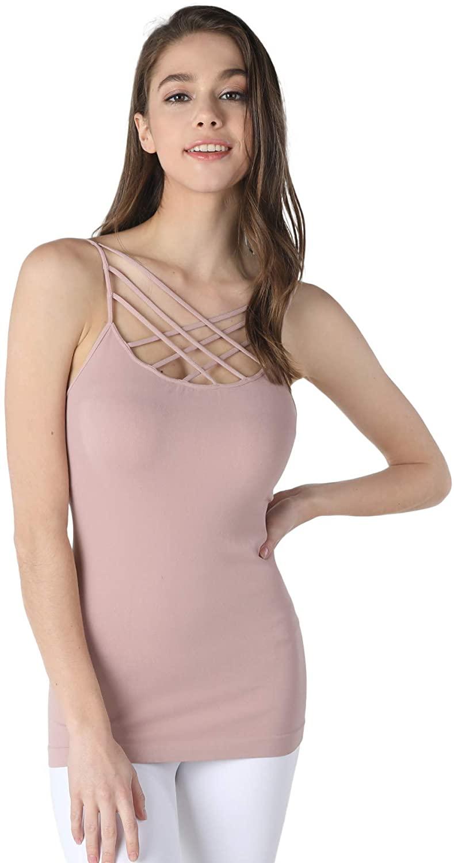 NIKIBIKI Women Seamless Triple Criss Cross Camisole, Made in U.S.A, One Size
